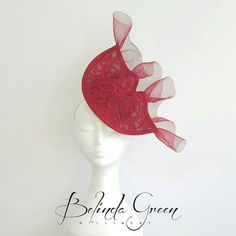 Beautiful deep red headpiece for your special occasion. Featuring guipure lace on a button base, secured to your head with comfy elastic. Elastic can be changed color to match your hair. Hand made in New Zealand.  Would look stunning worn to the races, wedding or other special occasion.  Follow me on facebook - https://www.facebook.com/belindagreenmillinery Thank you for your support, Belinda Green