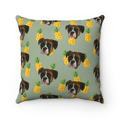 Custom Pillow With Your Pets Face Printed On It - Pineapples - 18x18 / Olive Green