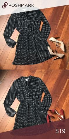 ⚫️⚪️Adorable Polkadot Black Dress ⚪️⚫️ Absolutely adorable piece by Forever 21... this super cute vintage offers a pussy bow, long sleeves. Fits above knee great way to show off your legs with a nice pair of heels! Forever 21 Dresses Mini