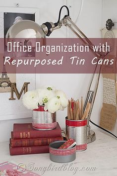 5 minute project: embellish tin cans with tape and store office supplies in them. Via Songbirdblog #organization #office #repurpose #tape