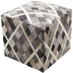 Surya Cartag 18-inch Hair On Hide Square Pouf
