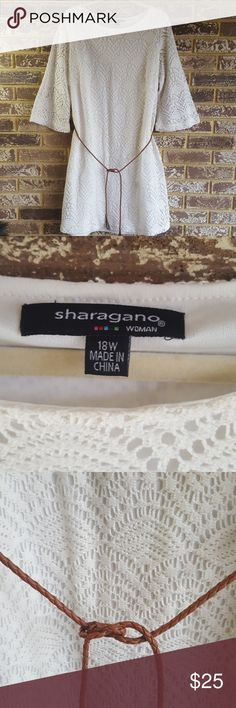 Crochet dress Plus 18w EUC Crochet dress plus 18w EUC wear as a dress or tunic with leggongs or skinny jeans. EUC worn a couple of times. Sharagano Dresses