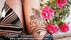 Rose Tattoo cuisse  Tatouage au henné naturel avec Naïma Henna Bordeaux, pour un RDV visitez mon site web :-)