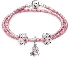 Pandora Pink Poetic Blooms Complete Gift Leather Bracelet