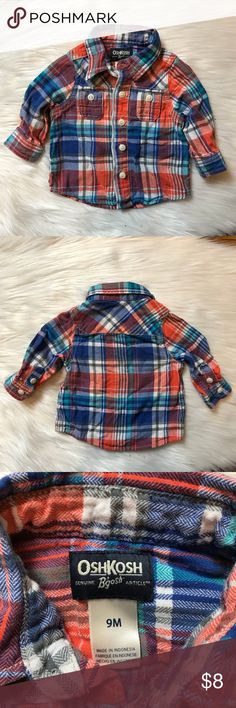 OshKosh Baby Boy Plaid Button Down Shirt This is an adorable plaid shirt in the perfect colors for spring. It was worn and washed once and it is in very good condition with no flaws other than some wrinkles from being stored. In my opinion, this shirt runs a little small. That is why it wasn't worn more. OshKosh B'gosh Shirts & Tops Button Down Shirts
