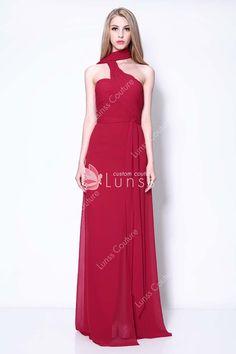 ab190e89c1 Wine Chiffon Halter One-shoulder Emma Stone Gangster Squad Fashion Prom  Dress Emma Stone
