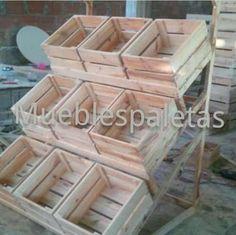estante 9 cestas en madera de pino frutería vegetales granos