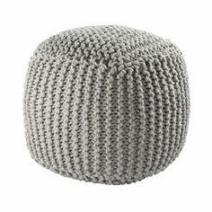 Puf trenzado de lana gris BALTIQUE