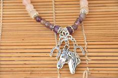 Collier Cheval - quartz rose et améthyste Quartz Rose, Charmed, Bracelets, Jewelry, Natural Stones, Hand Made, Lobster Clasp, Pendant, Jewlery