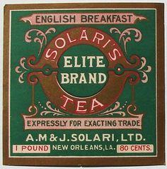 Solari's Tea Elite Brand English Breakfast tea label, gold on green, New Orleans, LA, USA Vintage Packaging, Tea Packaging, Vintage Labels, Vintage Tea, Vintage Food, Vintage Postcards, Vintage Kitchen, Vintage Photos, Tea Labels
