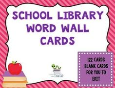 This set of word wall cards matches my Owl Themed Library Poster SetSet of 122 library word wall cards for the elementary library media center.  Just print the cards, laminate, cut in half and display.  There are 2 words per page.  I have also included header cards (A-Z).