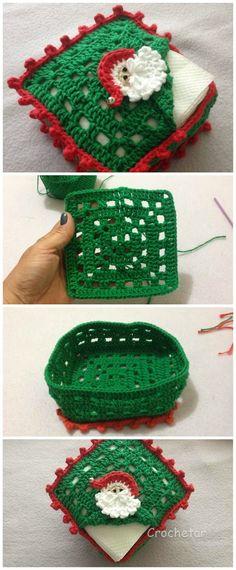 Crochet Christmas Box For Napkins - Crochet - Knitting Tutorials And Patterns Crochet Christmas Decorations, Crochet Christmas Ornaments, Christmas Crochet Patterns, Crochet Decoration, Holiday Crochet, Crochet Gifts, Christmas Crafts, Xmas, Quick Crochet