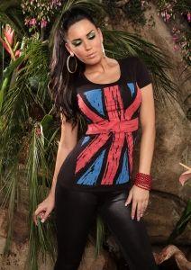 t-shirt FLAGA BRYTYJSKA czarny Peplum, Ruffle Blouse, Heels, T Shirt, Tops, Women, Fashion, Moda, Tee