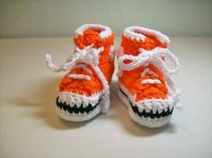 Baby Booties Crochet Orange Hi-top Sneakers Converse Basketball Shoes by AutumnLeavesCrafts for $16.00