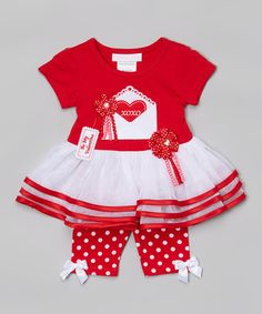 Another great find on #zulily! Red 'XOXO' Skirted Top & Polka Dot Pants - Infant #zulilyfinds