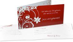 Hochzeitskarte+-+Rot+ist+die+Farbe+der+Liebe! Card Wedding, Invitation Cards, Getting Married, Red, Amor, Flowers