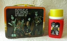 KISS Antique Lunchbox  Thermos (OId 1977 Vintage Heavy Metal Rock Band Lunchbox, King Seeley Thermos Co.)