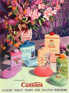 A beautifully illustrated ad from 1956 for Cussons soap and talcum powder. I love the lost art of powder. <3