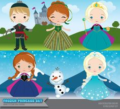 Frozen Inspired Princess Clipart Set - Instant Download - PNG Files.
