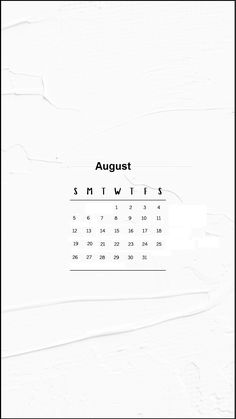 August 2018 iPhone Calendar Wallpapers