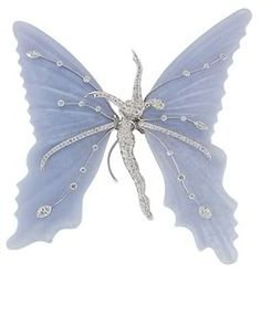 Chalcedony and Diamond Butterfly brooch  dancing lady in center