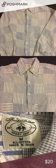 Brooks Brothers Quilt Patchwork Striped Medium Brooks Brothers Quilt - Patchwork   Men's Size: Medium Style: Long Sleeve Color: Baby Blue Brand: Brooks Brothers Condition: Pre Owned Details: Striped  Any questions, please ask!  JG. MINISTRIES Brooks Brothers Shirts Tees - Long Sleeve