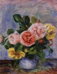Roses in a Vase   --  Pierre Auguste Renoir - Date unknown