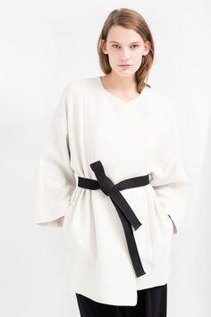 Mango Premium-Contrast Belt Kimono - Kimono Trend Summer 2014 - Stylish Jackets
