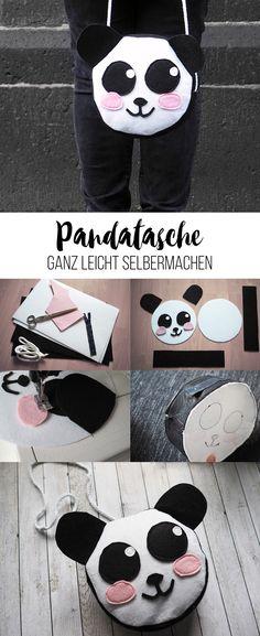 DIY Panda-Filztasche selber nähen l Kinder Umhängetasche
