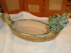"""Vintage Water Dragon Fish Asian Bonsai Pottery Planter Art Deco 19"""" Long"""