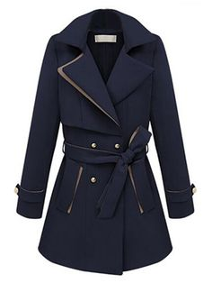 Navy Blue Double-breasted Fall Trench Coat