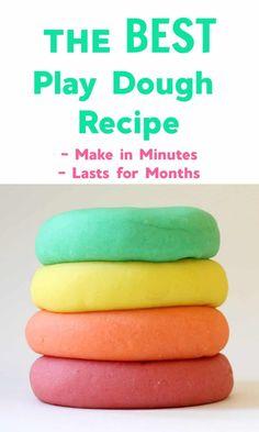 Our Favorite Play Dough Recipe - Emma Owl Best Homemade Playdough Recipe, Play Dough Homemade, Best Play Dough Recipe, Toddler Play, Toddler Crafts, Craft Activities For Kids, Toddler Activities, Craft Ideas, Fun Crafts