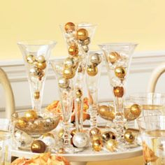 I love how this looks like champagne bubbles Martha Stewart 'non-floral' centerpiece idea.
