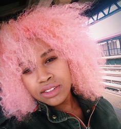 African American with pink hair | Light pink is the new black? This color looks amazing on this African ...