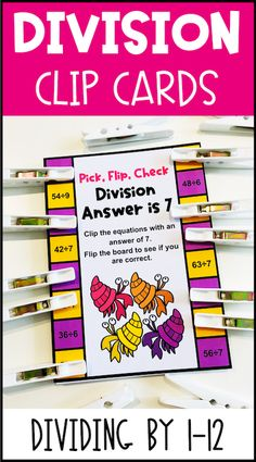 These division clip cards for division facts also come with a digital version and a Boom Cards version. On all three versions students find the facts with the given answer. Great for developing fact fluency and practicing division facts. Use these activities with third grade, fourth grade or fifth grade to help with math fact fluency! These self-correcting flip cards and Boom cards give immediate feedback! The digital version and the Boom cards are are great for distance learning! Teaching Division, Division Activities, Math Activities, Maths Display, Math Fact Fluency, Math Help, Flip Cards, Math Facts, Math For Kids