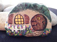 Painted Rock Fairy Cottage Garden CottageLil by SolidRockStudios, $44.00