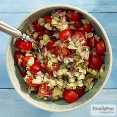 Tomato-Cucumber Salad: Skip the lettuce and let tomatoes and cucumbers play the starring roles. Lightly dressed with olive oil, fresh mint, and a dash of salt and pepper, this salad proves that sometimes less is more. No fresh mint for the salad? You can use fresh basil instead.