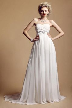 CLICK IMAGE TWICE FOR PRICING Charming A-line Strapless Chiffon Sweep Train Wedding Dress WAL06700-TB