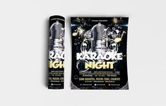 """Karaoke Night Flyer Template Features: • Size: 1275×1875px (4×6"""") Bleeds 0.25"""" • Fully editable + Full layered • Photoshop Version: CS5 or Higher • Resolution: 300dpi • CMYK Colors #announcement #art #audio #background #banner #broadcast #ciusan #classic #club #colorful #concept #concert #creative #dance #design #disco #entertainment #equipment #event #festival #flyer #graphic #illustration #karaoke #media #mic #microphone #modern #music #musical #night #nightclub #object #party #performance Festival Flyer, Background Banner, Party Flyer, Print Templates, Karaoke, Flyer Template, Night Club, Graphic Illustration, Photoshop"""