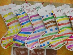Patterned stockings. I like this idea better than plain construction paper stockings.                                                                                                                                                                                 More
