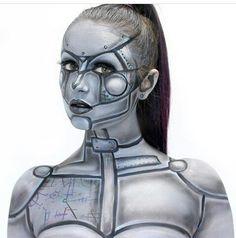 Robot Makeup, Punk Makeup, Sfx Makeup, Costume Makeup, Robot Costumes, Scary Halloween Costumes, Halloween Makeup, Cyberpunk, Futuristic Makeup