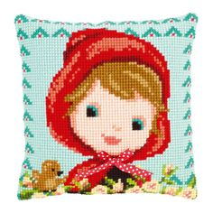 Cross Stitch Cushion: Red Riding Hood with Bow