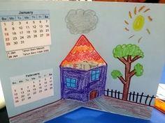 untuk anakanak sekolah minggu: POP-UP KALENDER(pop-up rumah/utk Januari dan Febru...