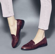 I've always loved penny loafers. These look a little more feminine, not so much a copy of men's shoes Loafer Shoes, Loafers Men, Shoes Sandals, Dress Shoes, Oxfords, Red Loafers, Flat Shoes, Cute Shoes, Me Too Shoes