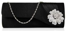 Product code Diamante detail to the front. Pleats to the front, plain to the back. Lined with an internal pocket. 2 detachable chains measuring and Size (cm): 25 wide x 10 high x 6 deep Black Clutch Bags, Flower Bag, Bags Uk, Crystal Flower, Black Crystals, Black Satin, Evening Bags, Vintage Fashion, Lady