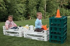 Early Years - Transport. Different kinds of crates, another good idea for outside play equipment.