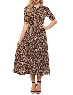 ACEVOG Women's Vintage Style Short Sleeve Floral Print Long Maxi Dress- Brown