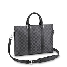 View 1 - Anton Briefcase Damier Graphite Canvas in Men's Men's Bags Business Bags collections by Louis Vuitton Louis Vuitton Briefcase, Louis Vuitton Usa, Louis Vuitton Store, Anton, Grey Bags, Masculine Style, Briefcase For Men, Cowhide Leather, Bag Accessories