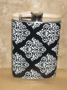 Damask Print Flask