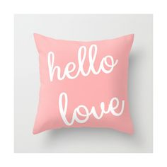 Hello Love Throw Pillow Cover Blush White Modern Home Decor Typography... ($34) ❤ liked on Polyvore featuring home, home decor, throw pillows, decorative pillows, home & living, home décor, red, red accent pillows, white throw pillows and outdoor toss pillows